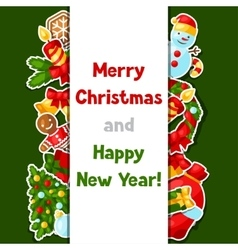 Merry Christmas and Happy New Year sticker vector image