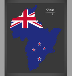 Otago new zealand map with national flag vector