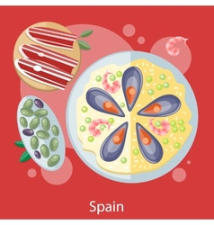Paella traditional spanish meal vector