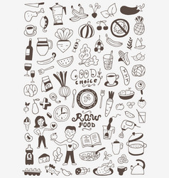 raw food doodles vector image