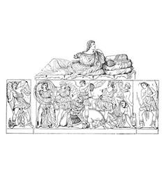 Sarcophagus vintage vector