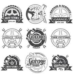 set of nine garage logo vector image vector image