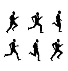 Silhouettes of men running vector