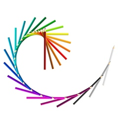 Spiral wave from rainbow colored pencils on white vector