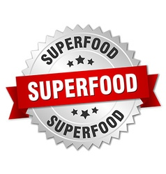 Superfood 3d silver badge with red ribbon vector