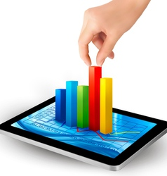 tablet with colorful graph and hand vector image vector image