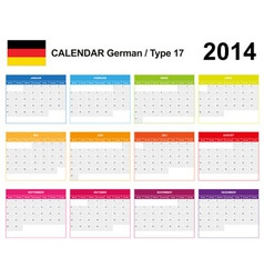 Calendar 2014 German Type 17 vector image