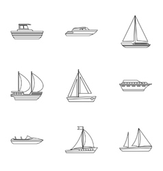 Ocean transport icons set outline style vector