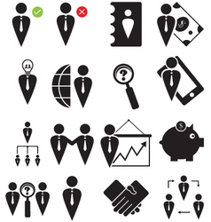 Business human icons set vector