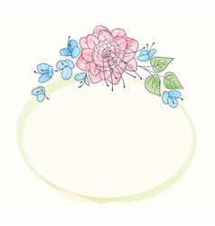 watercolor round flower frame Hand draw floral vector image