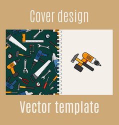 Cover design with constraction tools pattern vector