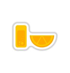 Glass of lemonade with lemon slice vector