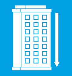 tall building and down arrow icon white vector image