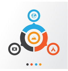 Journey icons set collection of camera mount vector