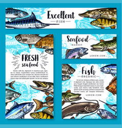 Posters for seafood or fish food products vector