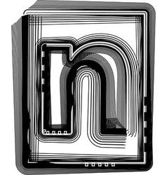 Striped font letter n vector