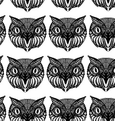 Owl head doodle hand drawn seamless patern black vector