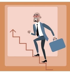 African businessman climbs the career ladder vector image