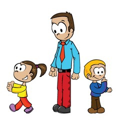 Cartoon of a father playing with kids vector