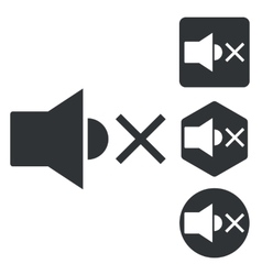 Muted sound icon set monochrome vector