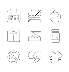 Healthy fitness diet icons linear set vector