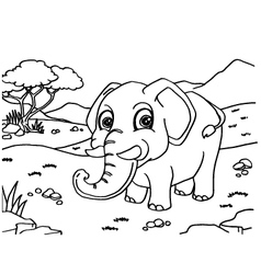 Elephant coloring pages vector