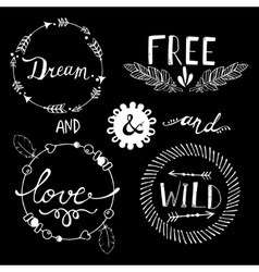 Set of boho style frames and elements vector