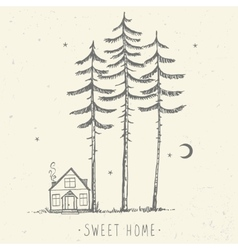 Pine and house silhouette vector