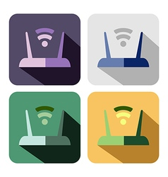 Set of colorful icons of router vector