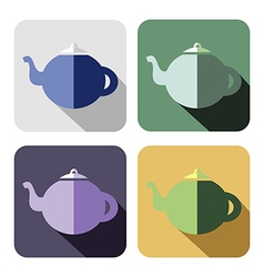 Set of colorful icons of teapot vector