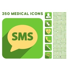 Sms icon and medical longshadow icon set vector