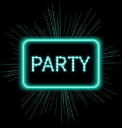 Neon party sign template vector
