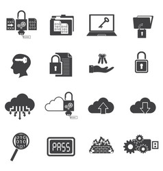 Big data icons set computer security vector
