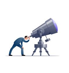 Cartoon astronomer looking through a vector