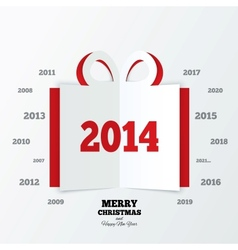 Christmas gift box cut the paper New year 2014 vector image vector image