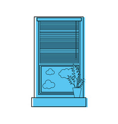 Color window with curtain blind open and plant vector