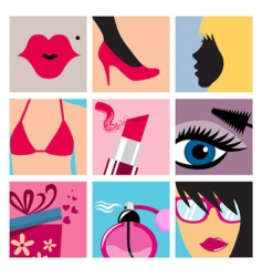 cosmetic icon set vector image vector image