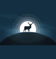 deer on the hill - cartoon landscape vector image