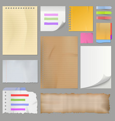different clean paper sheets realistic style notes vector image vector image