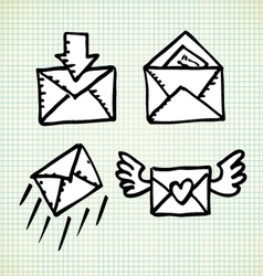 Email doodle icons vector image