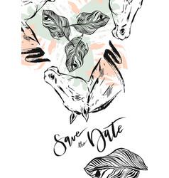 hand drawn abstract modern boho tropical vector image vector image