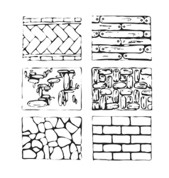 Hand drawn paving stones and blocks vector