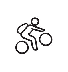 Man riding bike sketch icon vector