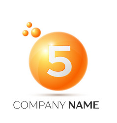 Number five splash logo orange dots and bubbles vector
