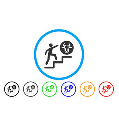 Person climbing to cow rounded icon vector