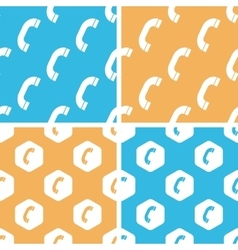 Phone receiver pattern set colored vector
