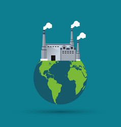 Plant planet earth smoke chimney factory icon vector