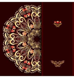 Rich burgundy background with a round gold floral vector