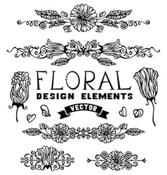 set of floral page decorations and dividers vector image vector image