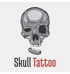 Skull tattoo with separated smiling jaw vector